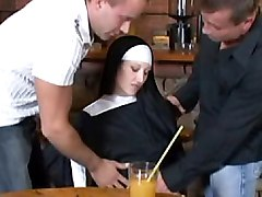 nun  white  dp  fmm  group  threesome  uniform  european  in clothes  stockings  black stockings  sandwiched  pub  table  cock ride  from behind  harder  anal  skinny