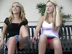 teen blonde lesbians bigtits teasing public outdoors flashing