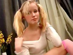 Skinny Blonde Teen Teasing