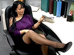 brunette  long hair  tease  spread legs  pussy  cock ride  stockings  in clothes  desk Mason Storm