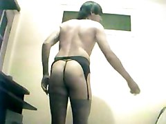 amateur homemade solo crossdresser stockings