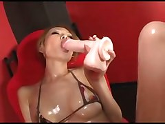 japanese asian dildo oil shaved pussy