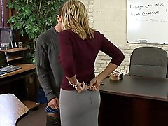 clothes off  lick  spread legs  penetration  desk  blonde  from behind Becca Blossoms