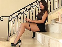 brunette  dress  dildo  big dildo  green eyes  masturbation  home  decorations  spread legs  in clothes  heels  pussy  closeup  upskirt  long legs  tanned Shana