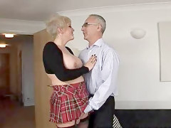 Older Man Kiss Big Tits Blonde Amateur Teen While She Get Undressed