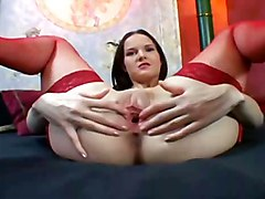 stockings pussy shaved finger fishnet lingerie POV masturbate heels nylons garter thigh highs