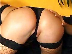 threesome blonde fishnet lingerie gloves garter stockings nylons dildo heels analsex oralsex fucking
