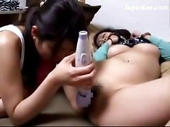 Girl With Handcuff Having Orgasm While Getting Her Pussy Fucked With Toys By 2 Girls Licking Pussy On The Bed