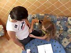 Russian School Teen Olia Fucked While Doing Her Homework