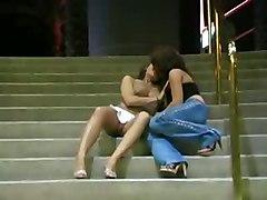 Lesbian Having Fun In Public