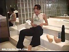 dildo brunette toy toys masturbation solo dildos