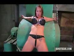 hogtied bondage fetish bdsm big tits lingerie brunette toy dildo vibrator pierced