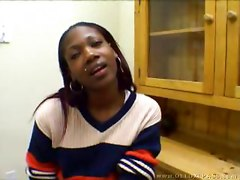 Ebony takes it in her ass and gets a facial