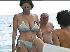 Natural Big Boobs In Public See Through Bikini