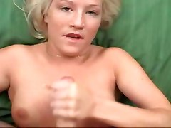 hot blonde POV dick handjob cumshot