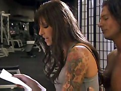 cumshot hardcore brunette tattoo pussyfucking gym