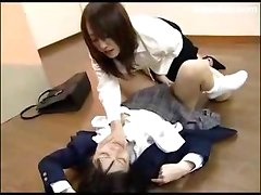 Scared Schoolgirl In Uniform Getting Her Pussy Fingered On The Floor Nipples Tortured In The Classroom