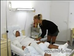 Horny Nurses Take Advantage Of Patient With Constant Erection Sucking His Cock And Riding Him To Exhaustion