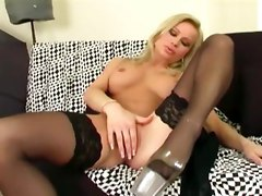 busty nylons MILF masturbating stockings heels pumps lingerie shaved pussy fingering blonde mom mature bigtit legs