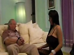 sexy hot bitch has sex with her old granddad