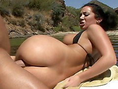 brunette  beautiful tits  big tits  beautiful ass  big ass  nature  outside  tanned  cock ride  on side  from behind Jayden Jaymes