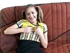 teen blonde shaved clothed young pigtails sofa masturbation solo teasing skirt socks pussyrubbing
