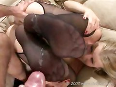 Couch Fishnet Stockings Lingerie Blowjob Pussy Rubbing Foot Fetish Tight Teasing Hardcore Anal Doggystyle Cumshot
