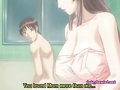 Anime cutie with huge breasts sucking a cock and drinking sperm