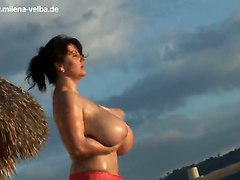 big tits milf solo girl outdoor boobs