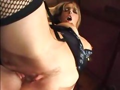 Close up facesitting and smothering in sexy fishnets