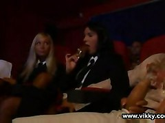 swallow cum facial doggystyle tits big brunette blonde sex group orgy public cinema