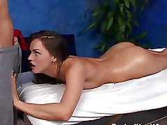 Massage Oiled Teen blowjob fucking