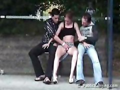 Public group sex on bus stop