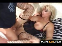 milf housewife cougar blonde blowjob fishnet glasses big tits