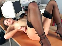 stockings pussy panties brunette skinny desk finger smalltits solo lingerie office masturbate heels sextoys nylons