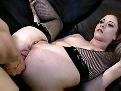 anal stockings cumshot blowjob brunette pussyfucking