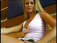 Blonde Blonde Caucasian Shaved Solo Girl Striptease