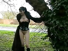 Gothic Outdoor babe england flashing goth public nudity skinny uk
