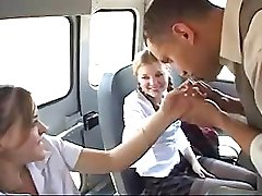 Crazy Schoolgirls Sucking Off The Bus Driver