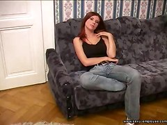 redhead  blowjob dick deep throat cum swallowing