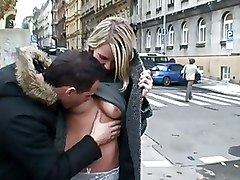 Outdoor Public blonde flashing oral