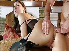 Anal Lingerie Anal Sex Blowjob Brunette Caucasian Couple Cum Shot Glamour High Heels Licking Vagina Lingerie Oral Sex Pornstar Stockings Vaginal Sex Maria Bellucci Nick Lang