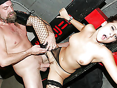 Bizarre Dani Woodward Fishnet cock riding fucking hardcore sex