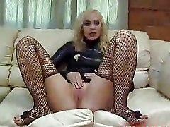 Masturbation Stockings blonde softcore solo