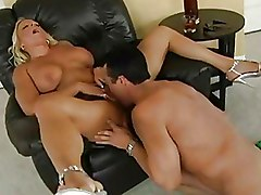 Busty Blonde Sucks Big Cock And Jerks Him Off