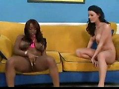 hardcore blowjob brunette fingering squirting threesome high heels blackgirl
