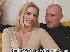 Cuckold Milf blonde blowjob small tits