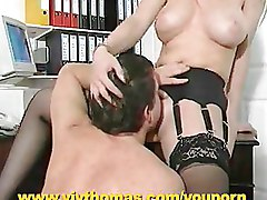 Big Tits Garter belts Office blonde riding stockings