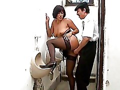 Mature Toilet black stockings boots mature suck dick