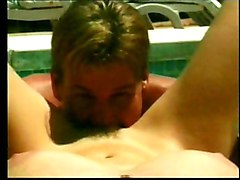 Blowjob Brunette Caucasian Couple Cum Shot Glasses Licking Vagina Oral Sex Outdoor Pool Vaginal Sex
